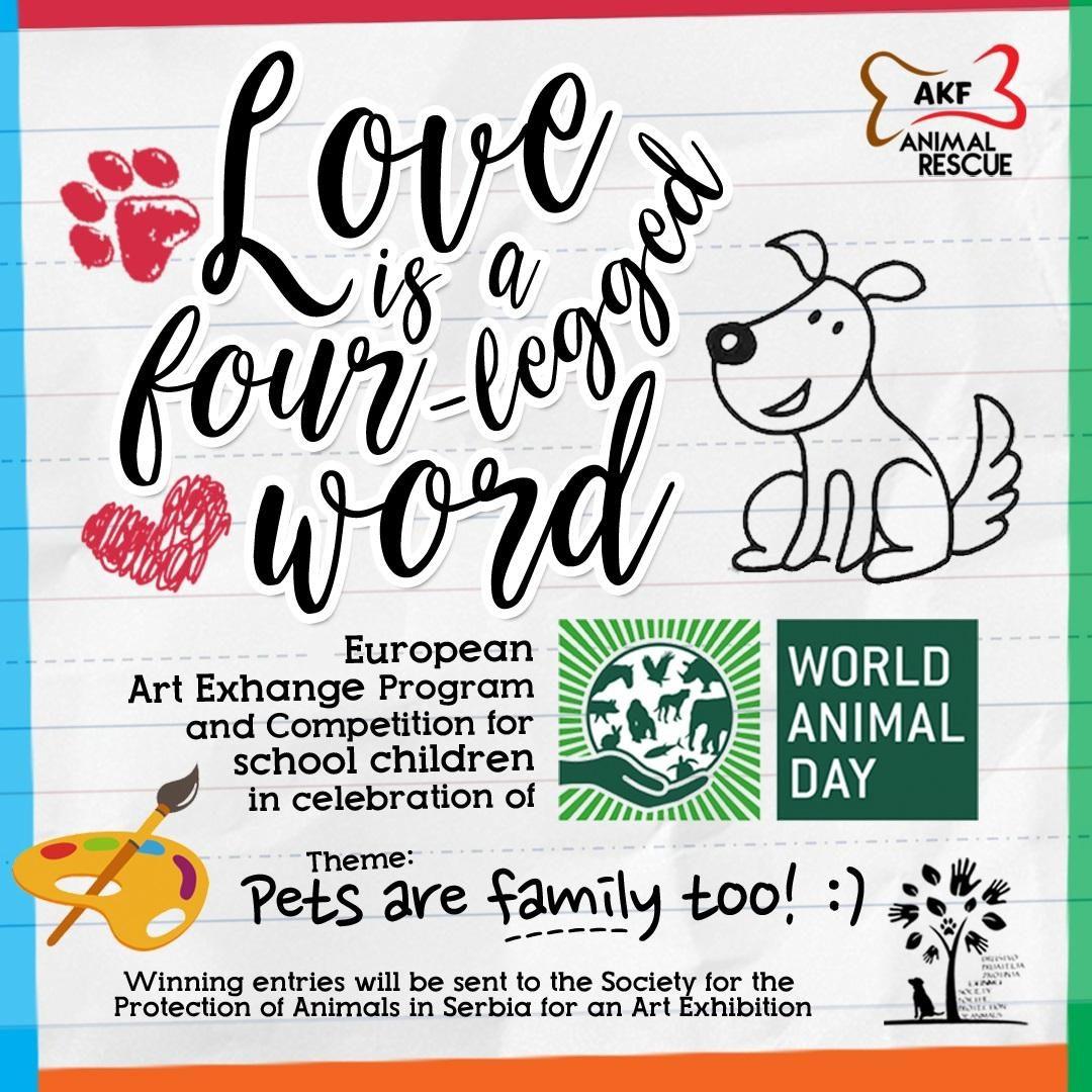 "Art competition and international artwork exchange ""Pets are Family too!"""