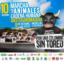 Human chain against bullfighting and World Animal Day March